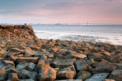 The collapsed wharf and bridge Stock Images
