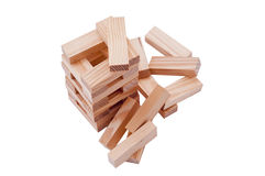 Collapsed wooden block Tower. On the isolated area Stock Photography