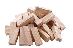 Collapsed wooden blocks. On the isolated background Stock Images