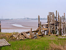 Collapsed wooden jetties Stock Photos