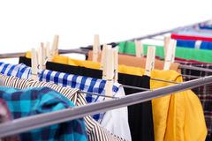The collapsible clotheshorse isolated on the white background Stock Photography