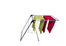 The collapsible clotheshorse isolated on the white background Stock Photo
