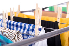 The collapsible clotheshorse  on the white background Royalty Free Stock Photography