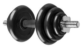 Collapsible dumbbell with rubber coated disks Stock Photo