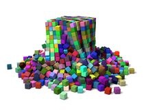 Collapsing cubes Royalty Free Stock Photos