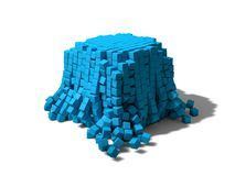 Collapsing cubes Stock Photo