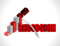 Collapsing economy. recession business graph Stock Images