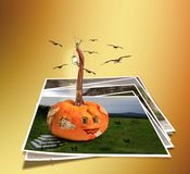 Collapsing house pumpkin wall with fragments Royalty Free Stock Photos