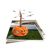 Collapsing house pumpkin wall with fragments Royalty Free Stock Photo