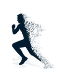 Collapsing silhouette of the running athlete Stock Images