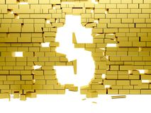 Collapsing wall making a dollar symbol Stock Image