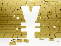 Collapsing wall making a yen symbol Royalty Free Stock Photos