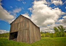 Collapsing Wooden Barn Stock Images