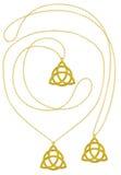 Collar aislado colgante de oro de la trinidad Imagen de archivo