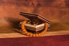 Collar ambarino en caja Foto de archivo libre de regalías