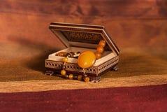 Collar ambarino en caja Imagen de archivo libre de regalías