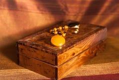 Collar ambarino en caja Imágenes de archivo libres de regalías