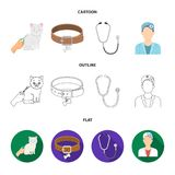 Collar, bone, cat, haircut .Vet Clinic set collection icons in cartoon,outline,flat style vector symbol stock. Illustration Stock Image