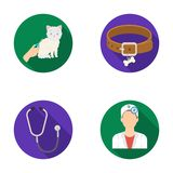 Collar, bone, cat, haircut .Vet Clinic set collection icons in flat style vector symbol stock illustration web. Stock Image
