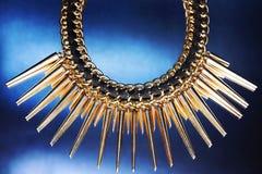 Collar brillante del oro Foto de archivo libre de regalías