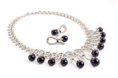 Collar con las perlas negras Foto de archivo