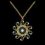 Collar de la cadena de oro con el colgante redondo del diamante stock de ilustración