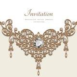 Collar de la joyería del oro, plantilla de la tarjeta de felicitación libre illustration