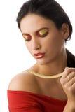 Collar de la mujer y del oro Foto de archivo libre de regalías
