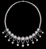 Collar de la perla con los diamantes Foto de archivo libre de regalías