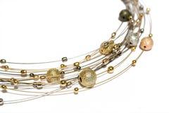Collar de las perlas del oro y de la plata Foto de archivo libre de regalías
