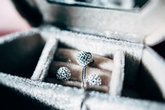 Collar de lujo y pendientes hechos del oro y de los cristales Fotos de archivo