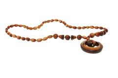 Collar de madera hermoso, aislado en blanco Foto de archivo libre de regalías