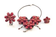 Collar de piedra rojo de lujo para la mujer Fotos de archivo