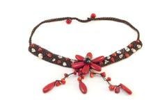 Collar de piedra rojo de lujo para la mujer Fotografía de archivo libre de regalías