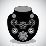 Collar de plata de la flor stock de ilustración