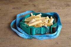 Collar and Dog bone on wooden background. it is snack for dog Royalty Free Stock Photos