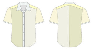 Collar Dress Shirt In Yellow Green Color Tones vector illustration