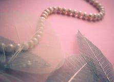 Collar femenino del fondo femenino de perlas Imágenes de archivo libres de regalías