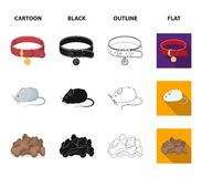 A collar, a forage, a toy, a cage and other products of the zoo store.Pet shop set collection icons in cartoon,black stock illustration