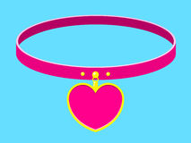 Collar/necklace with heart label. Pink collar/necklace with heart label royalty free illustration