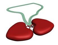 Collar rojo de dos corazones Imagenes de archivo
