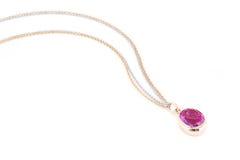 Collar rosado del zafiro. Foto de archivo libre de regalías