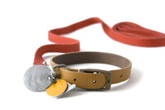 Collar with tags. Leather dog colar with registration tags and red leash attached. Isolated on white background Royalty Free Stock Photos
