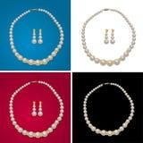 Collar y pendientes de la perla Foto de archivo