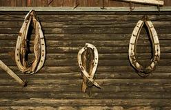 Collares de caballo en el fondo de madera Imagen de archivo libre de regalías