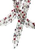 Collares de plata con los corazones coloreados de las perlas y de las estrellas Imágenes de archivo libres de regalías