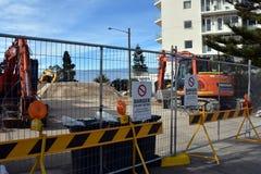 Collaroy海滩仍然被关闭和建设中 免版税库存照片