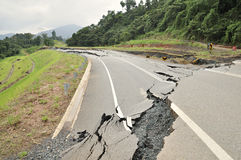 Collased Asphalt Cracked Road Collapsed Stock Photo