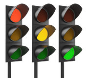 Collate of three traffic lights Stock Images