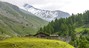 Colle dell'Agnello, Val Varaita 免版税库存图片